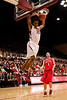 30 December 2008:  Stanford Cardinal forward Lawrence Hill (15) dunks in front of Stanford Cardinal guard Mitch Johnson (1) during the first half of the Cardinal's 69-55 win over the Hawks at Maples Pavilion in Stanford, California.