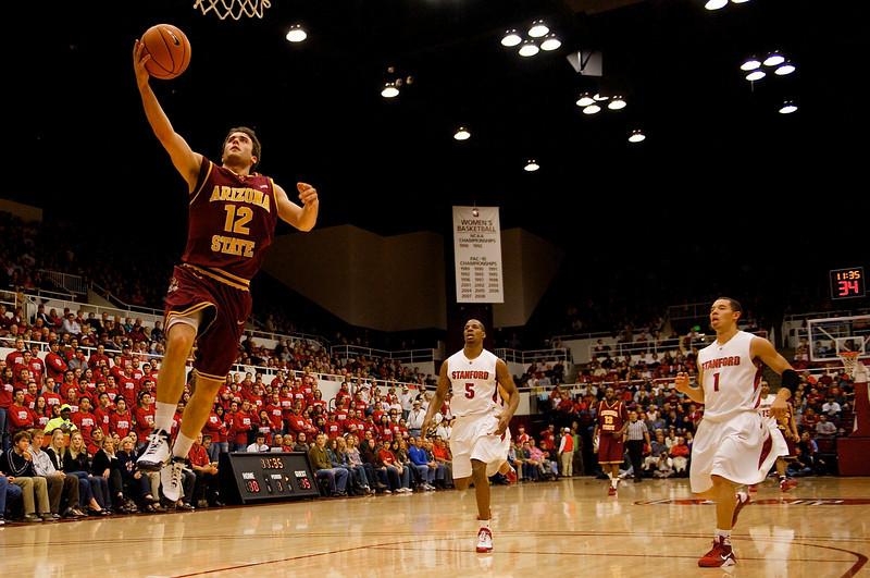 02 January 2009: Arizona State Sun Devils guard Derek Glasser (12) lays in an uncontested shot during the first half of the Sun Devils' 90-60 win over the Stanford Cardinal at Maples Pavilion in Stanford, California.