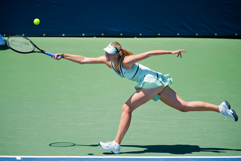 29 July 2009: Maria Sharapova (RUS)  during her 6-1, 6-2 victory over Nadia Petrova (RUS) in their singles match at the Bank of the West Classic in Stanford, CA.