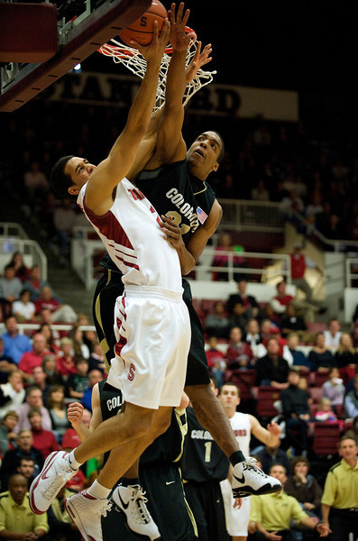 29 November 2008:  Colorado forward Jermyl Jackson-Wilson (31) blocks a shot by Stanford guard Kenny Brown (22) during the first half of the Cardinal's 76-62 win over the Buffaloes at Maples Pavilion in Stanford, California.