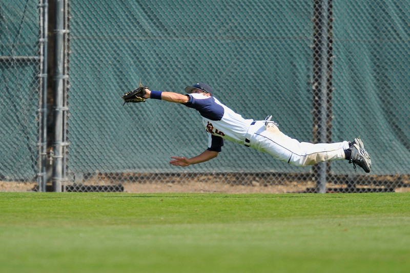 30 May 2008:  Centerfielder Nate Simon (5) makes a spectacular diving catch to close out Pepperdine's 4-3 victory over Arkansas in the NCAA Division I Stanford Regional baseball game on Klein Field at Sunken Diamond in Stanford, California.  Arkansas rallied in the ninth inning scoring once and advancing the tying run to third base with two outs.