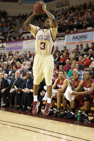23 December 2008: Santa Clara Broncos guard Calvin Johnson (3) takes a three-pointer during the Stanford Cardinal's 77-69 win over the Broncos at the Leavey Center in Santa Clara, California.
