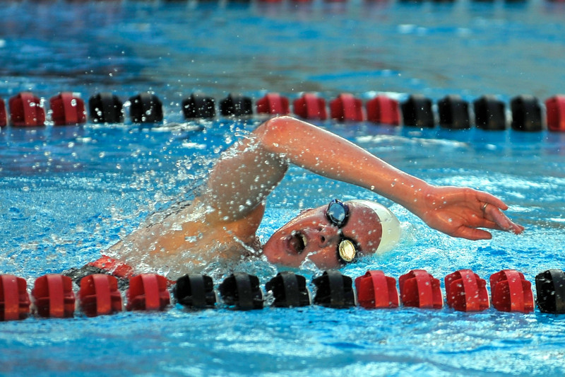 16 February 2008: Stanford Cardinal Julia Smit breaks the pool record in the 500 yard freestyle set in 1990 by Olympian Janet Evans during Stanford's win against the California Golden Bears at the Avery Aquatic Center in Stanford, CA.