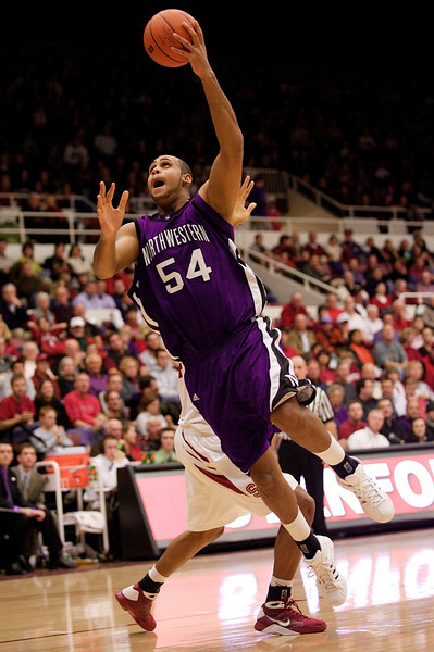 20 December 2008: Northwestern Wildcats center Kyle Rowley (54) puts up a shot during the second half of the Stanford Cardinal's 65-59 win over the Wildcats at Maples Pavilion in Stanford, California.