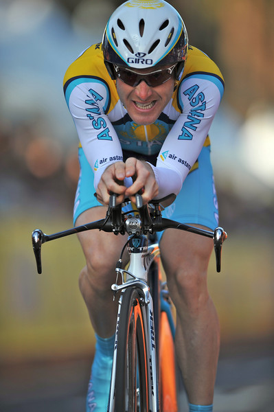 17 February 2008: Levi Leipheimer of the United States during the Prologue Stage of the Amgen Tour of California at Stanford University in Palo Alto, CA.  Leipheimer, the defending champion, finished the time trial Prologue with the third fastest time.