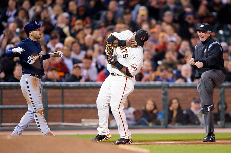 08 April 2009:  San Francisco Giants third baseman Pablo Sandoval (48) tags out Milwaukee Brewers left fielder Ryan Braun (8) attempting to steal third base during the Giants' 6-3 win over the Brewers at AT&T Park in San Francisco, CA.