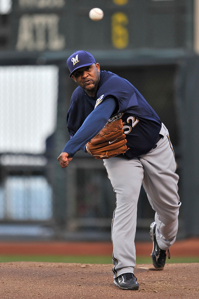 18 July 2008: CC Sabathia (52) during the Milwaukee Brewers' 9-1 victory over the San Francisco Giants at AT&T Park in San Francisco, CA.