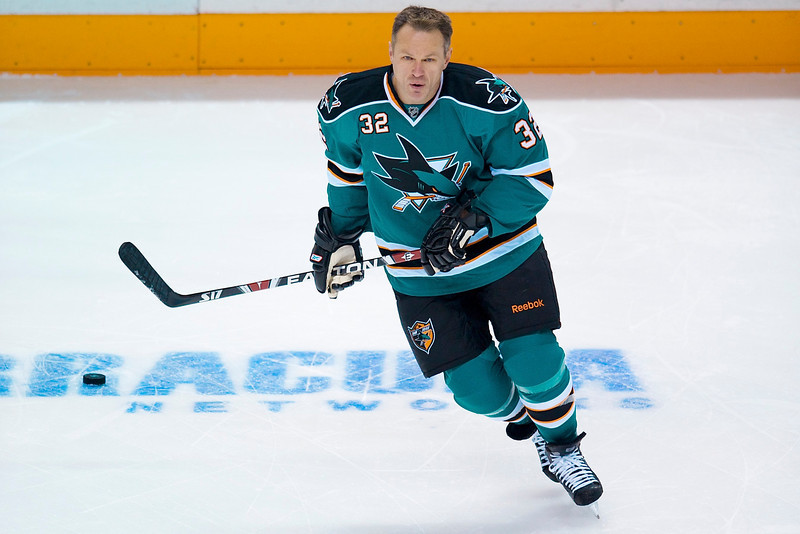 20 January 2009:  San Jose Sharks right wing Claude Lemieux (32) warming up before, his first NHL game in 5-1/2 years, the Sharks' 2-1 overtime win over the Vancouver Canucks at HP Pavillion in San Jose, California.