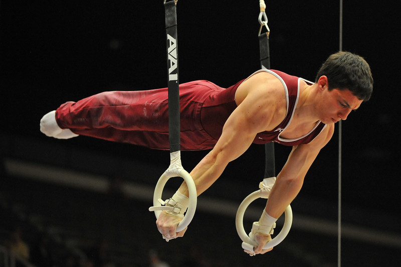 17 April 2008:  Stanford's David Sender during the 2008 NCAA Men's Gymnastics Championships at Stanford University's Maples Pavilion in Stanford, CA.