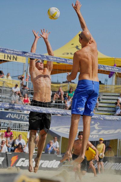 14 September 2008: Phil Dalhausser hits a ball over Mark Williams  during the men's semi-final match in the AVP Crocs Cup Shootout at Pier 30 in San Francisco, CA.  Dalhausser and Todd Rogers defeated Stein Metzger and Williams 21-19, 21-19.