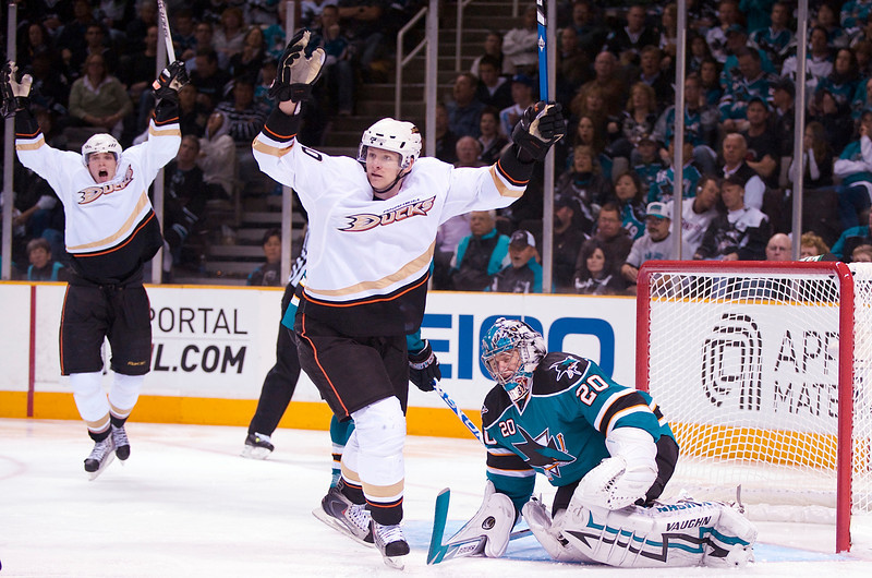 16 April 2009:  Anaheim Ducks right wing Corey Perry (10) and right wing Bobby Ryan (9) celebrate a goal by defenseman Scott Niedermayer (not pictured) over San Jose Sharks goalie Evgeni Nabokov (20) during the third period of the Sharks' 2-0 loss to the Ducks in Game 1 of the 2009 Stanley Cup Western Conference Quarterfinal Playoffs at HP Pavilion in San Jose, CA.