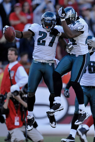 Oct. 12, 2008; San Francisco, CA, USA; Philadelphia Eagles safety Quintin Mikell (27) celebrates an interception and ensuing touchdown with cornerback Sheldon Brown (24) during the fourth quarter of the Eagles' 40-26 win over the 49ers at Monster Park in San Francisco, CA. Mandatory Credit: Daniel R. Harris-US PRESSWIRE
