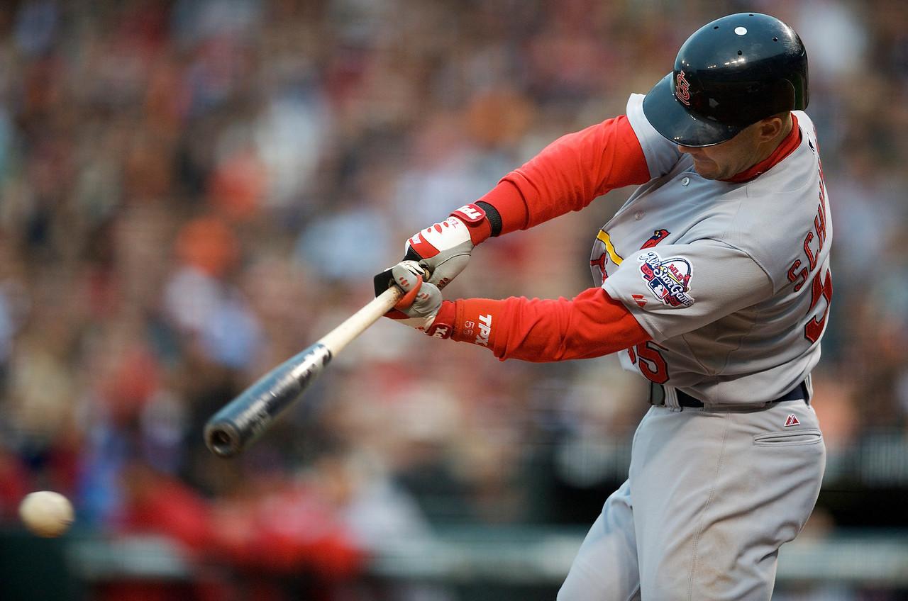 30 May 2009:  St. Louis Cardinals second baseman Skip Schumaker (55) at bat during the Cardinals' 6-2 win over the San Francisco Giants at AT&T Park in San Francisco, CA.