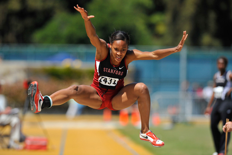 25 April 2008: Stanford's Brittni Dixon-Smith competes in the Women's Long Jump during the Brutus Hamilton Invitational at Edwards Stadium / Goldman Field in Berkeley, CA.