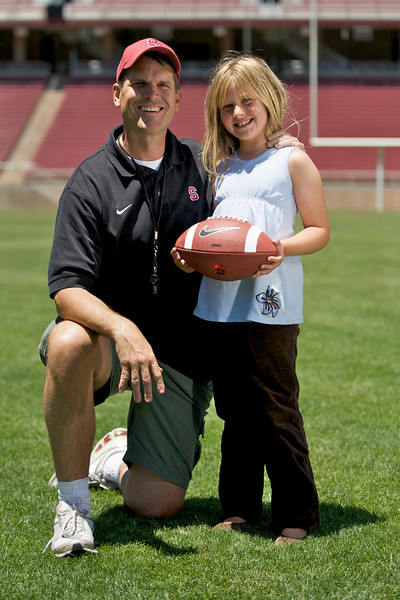 18 April 2008: Grace and Jim Harbaugh at Stanford Stadium during a photo shoot break in Stanford, CA.