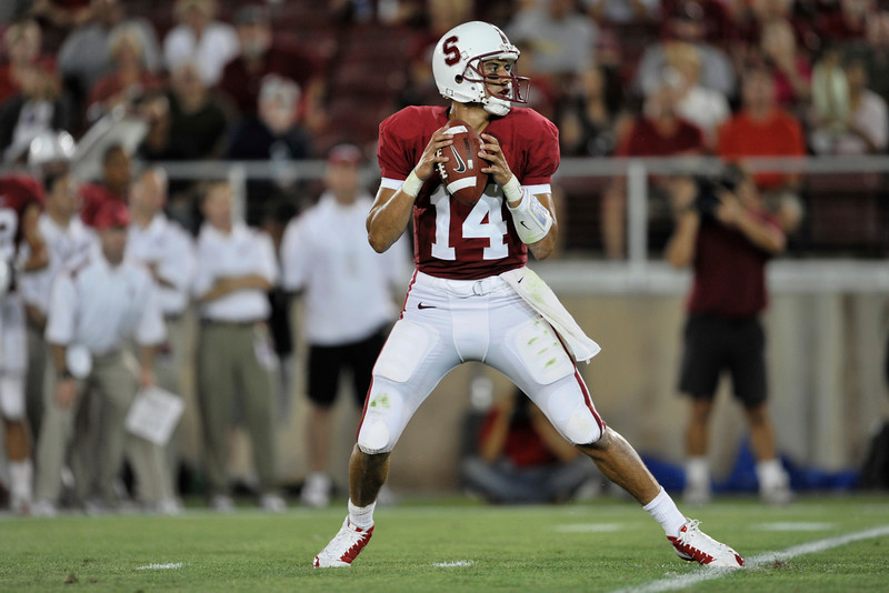 28 August 2008: Quarterback Tavita Pritchard (14) during the Stanford Cardinal's 36-28 victory over the Oregon State Beavers at Stanford Stadium in Stanford, CA.