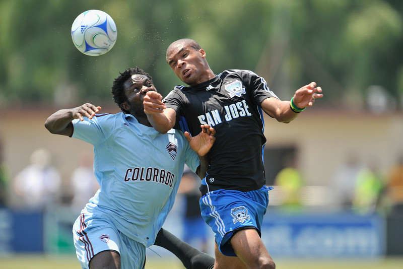 12 July 2008:  Ryan Johnson (19) takes a header away from Ugo Ihemelu (18) during the San Jose Earthquakes' 1-1 tie with the Colorado Rapids at Buck Shaw Stadium in Santa Clara, CA.