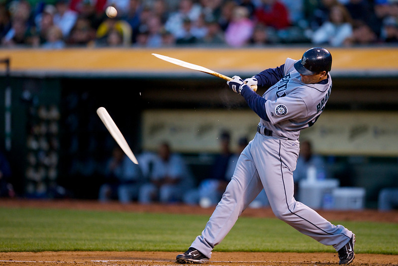 10 April 2009:  Seattle Mariners first baseman Russell Branyan (30) breaks his bat while hitting a single to centerfield during the Mariners' 5-4 win over the Oakland Athletics at Oakland-Alameda County Coliseum in Oakland, CA.