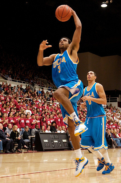 26 February 2009: UCLA Bruins guard/forward Josh Shipp (3) looks to dunk during the Bruins' 76-71 win over the Stanford Cardinal at Maples Pavilion in Stanford, California.