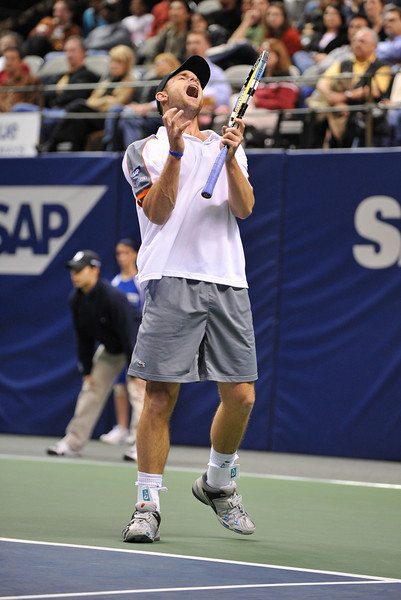 20 February 2008: Andy Roddick of the United States during his first round win over Chris Guccione of Australia in the SAP Open at the HP Pavilion in San Jose, CA.