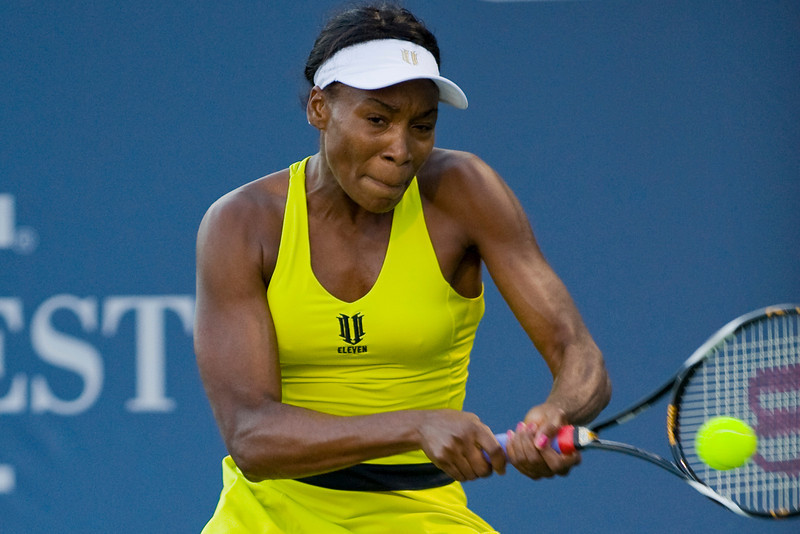 31 July 2009:  Venus Williams (USA) during her 6-2, 6-2 victory over Maria Sharapova (RUS) in their singles quarter-final match at the Bank of the West Classic in Stanford, CA.