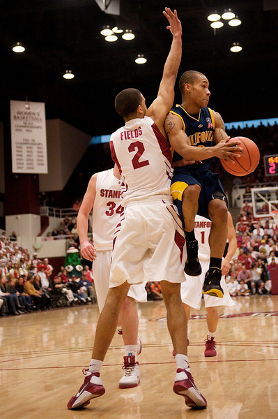 17 January 2009:  California Golden Bears guard Jerome Randle (3) drives and dishes off Stanford Cardinal guard Landry Fields (2) during the Cardinal's 75-69 win over the Golden Bears at Maples Pavilion in Stanford, California.