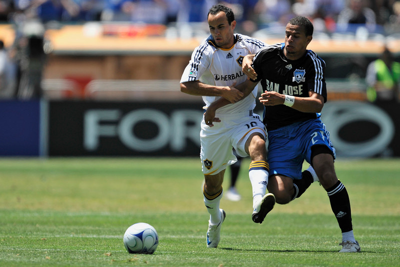 03 August 2008:  Landon Donovan (10) and Jason Hernandez (21) during the San Jose Earthquakes' 3-2 win over the Los Angeles Galaxy at McAfee Coliseum in Oakland, CA.