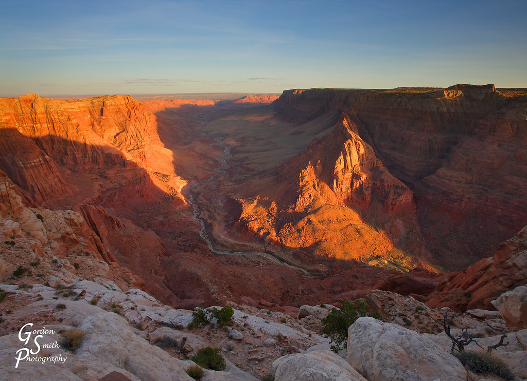 Paria Canyon Overlook at Sunset<br /> Paria River meanders a thousand feet below the high canyon rim.  As the orange sun went down, the last rays spread out across the far cliff walls.  Beauty!