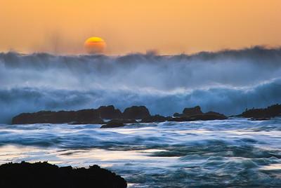 5/9 - Coastal Turbulence at Sunset.  Gigantic waves along the Northern California coast at Sunset.