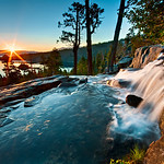 """8/20 - Just back from a week's vacation in Lake Tahoe and captured this!  """"Summer Sunrise at Eagle Falls, Lake Tahoe"""" (Emerald Bay is in the background!)  From my vacation up there last week! Just beautiful silky water flowing over the falls with my wide angle lens to capture the sunrise and the falls! (The wide angle is a 10-20mm on a 1.5x crop sensor currently). A couple images combined to keep the sky from blowing out and getting the right detail in the water.  Thanks for the support folks!  More images can always be seen on my Facebook page over here!   <a href=""""http://www.facebook.com/pages/Yosemite-and-Bay-Area-Nature-Photography-by-John-Harrison/190152125697"""">http://www.facebook.com/pages/Yosemite-and-Bay-Area-Nature-Photography-by-John-Harrison/190152125697</a>"""