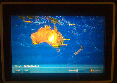 Airplane flying at 80 MILLION Feet!   Yes, this is an iphone picture taken of the in-flight entertainment/flight status system on my United SFO-Sydney 747 flight to Sydney, Australia.  I was a little worried when I saw this!  Yes, the altitude says 80 MILLION feet!  For those of you who don't know any better -- airlines fly at 20-40 THOUSAND feet.  Also, this would be 15,000 miles or 24,300 KM!      For more on my images, you can check out the galleries here and my Facebook Fan page here: http://www.facebook.com/pages/Yosemite-and-Bay-Area-Nature-Photography-by-John-Harrison/190152125697