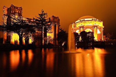 2/18.  Palace of Fine Arts at Night in San Francisco.  I went up to San Francisco to attend the 20th anniversary of Photoshop which was at the Palace of Fine Arts tonight.  I managed to get up there right at dusk and captured a few images.  The fog was pretty thick with the lights of the Palace of Fine Arts creating a glow in the sky.  This coupled with the nice reflections makes this is pleasing but almost fiery combination!