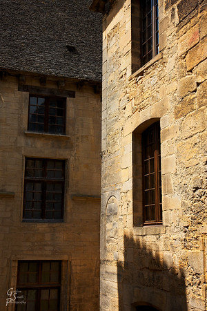 Sarlat Buildings I like the shadow of a characteristic building is seen on the sunlit building on the right.  The bright and beautiful day made this town blossom with beauty.