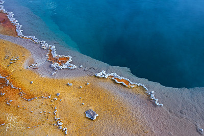 Mineral Island Chains form in and around the thermal features of Yellowstone Park