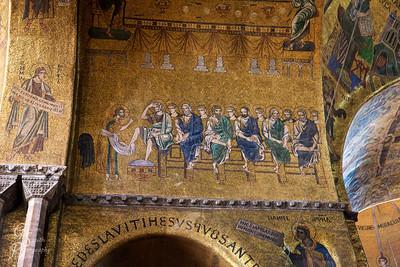 Golden Mosaic of Jesus washing Apostles Feet
