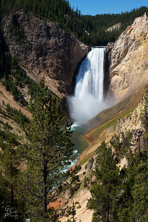 Lower Yellowstone Falls and River as seen from the Red Rock trail
