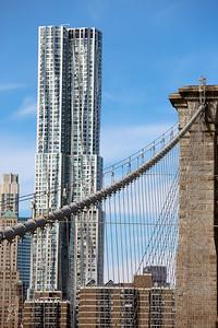 Manhattan with some of the Brooklyn bridge