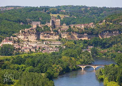 View of Beynac Castle from Castelnaud This is the distant view of Beynac from Castelnaud.  These two castles fought each other during the hundred-years war.  The Dordogne river separated the two armies.