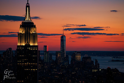 Empire Gold the tallest building in Manhattan at dusk after a lovely sunset