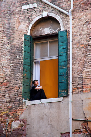 Young Student in Venice Window