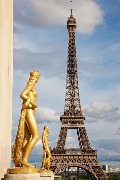 Trocadero Statues<br /> are gold, reflecting the strong light of the late afternoon