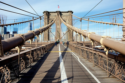 Brooklyn Bridge with a white stipe down the middle