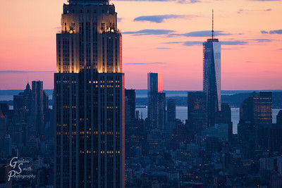 Empire State Building at Dusk with red, purple and blue skies