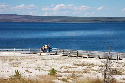 Yellowstone Lake and Teenagers enjoying a beautiful day.