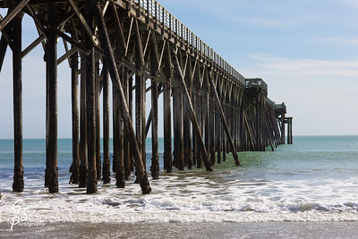 San Simeon Pier with gentle rolling waves coming in from the Pacific