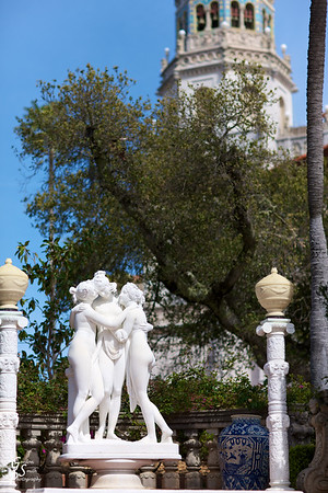 Three Graces at Hearst Castle standing in the garden below the Casa Grande