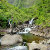 Gordon Smith photographing Kauai waterfall
