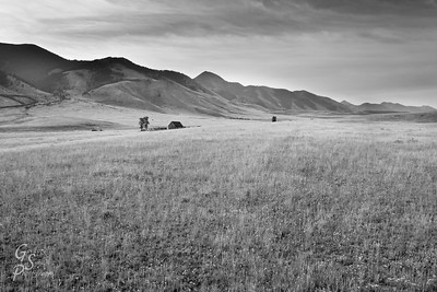 Field, Cabin and Madison Mountian Range in black and white.