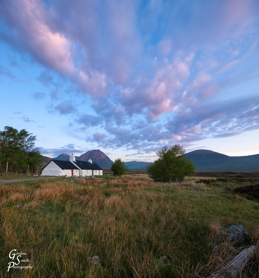 black rock cottage in glencoe scotland sunrise