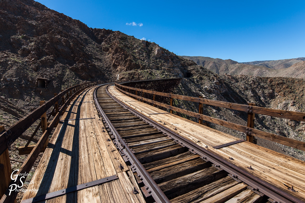 Railroad going over goat Canyon trestle